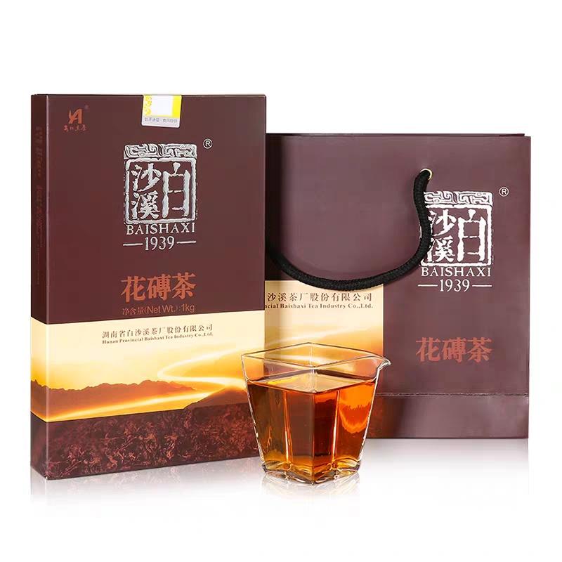 经典花砖茶1kg 白沙溪砖形千两茶花卷茶